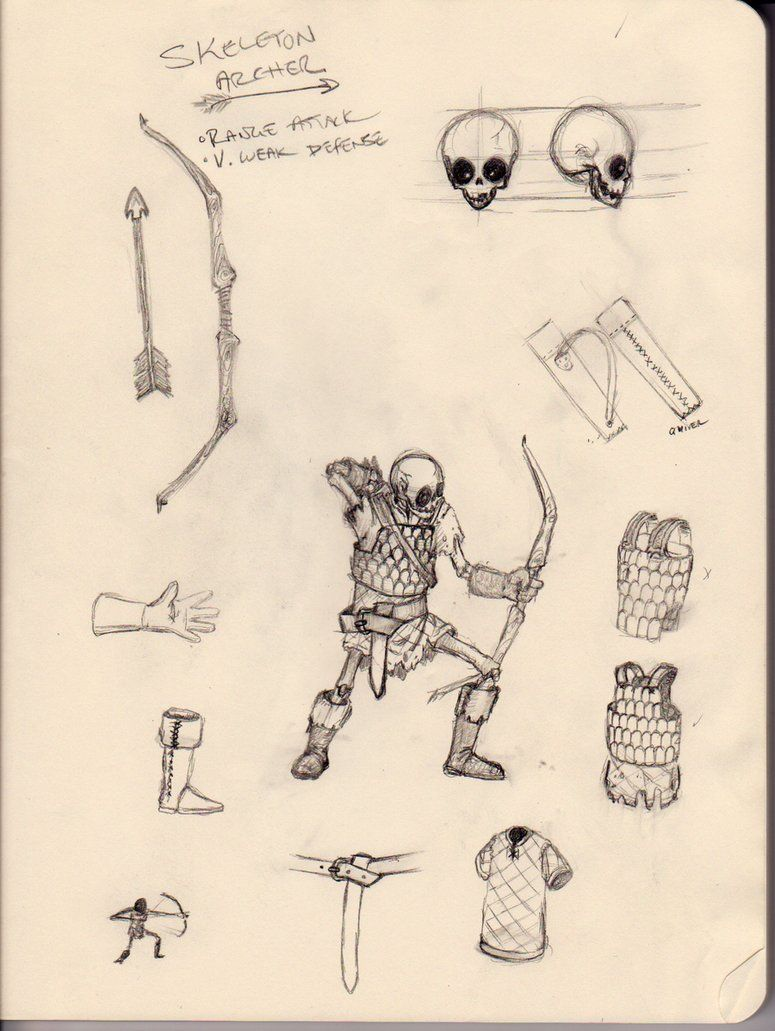 Skeleton Archer Pencil Concept by drwho1313