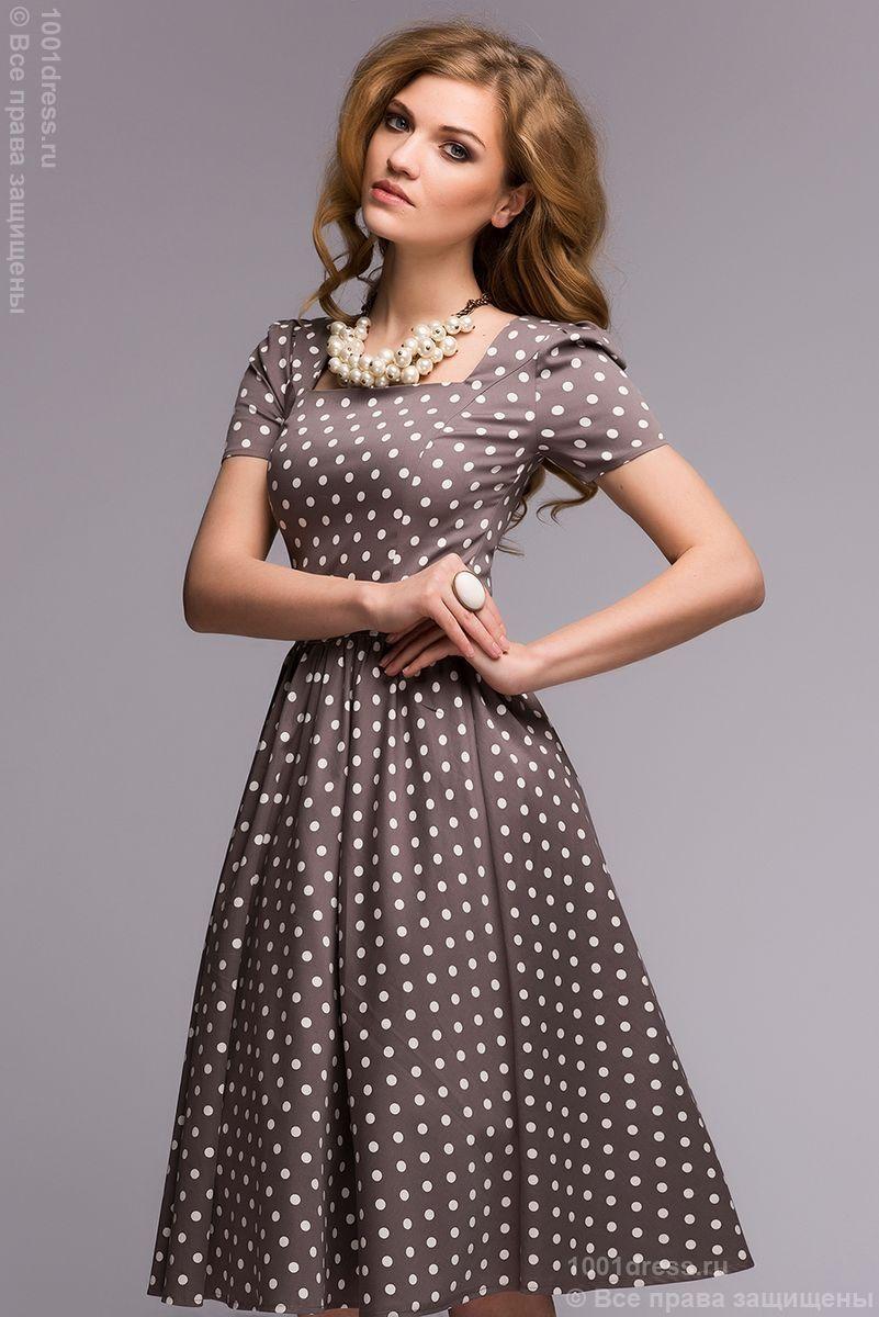 d7221e2aca2 Купить бежевое платье в горошек в стиле ретро с пышной юбкой в  интернет-магазине 1001DRESS
