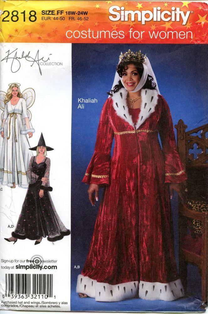 Simplicity Costume Pattern Princess Angel Witch 40 Woman's Size FF Inspiration Plus Size Costume Patterns