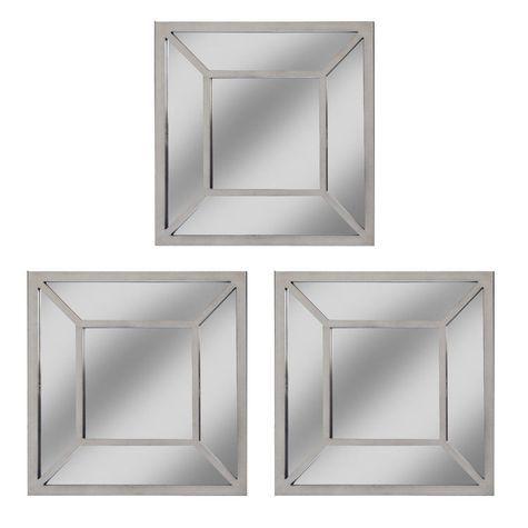 Decorative square mirror set of 3
