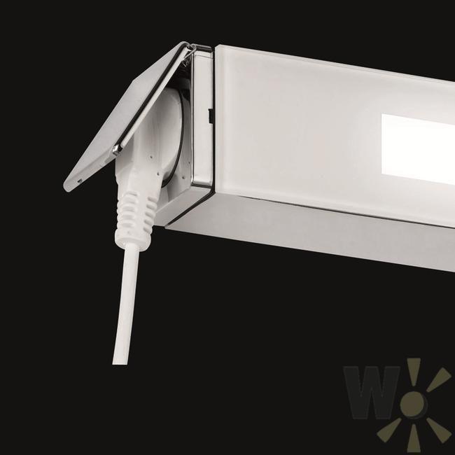 Bad-Leuchte mit Steckdose IP44 in Chrom mit satiniertem - leuchte für badezimmer