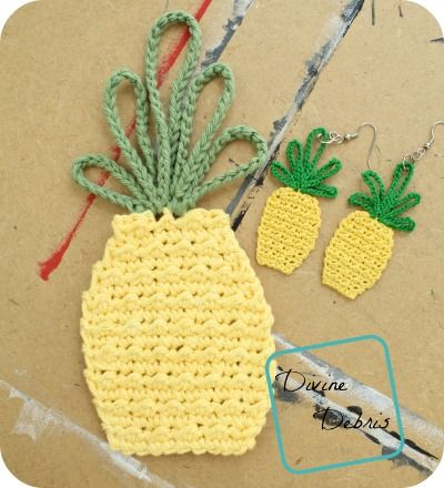 Free pineapple earring and applique combo crochet pattern by Divinedebris.com