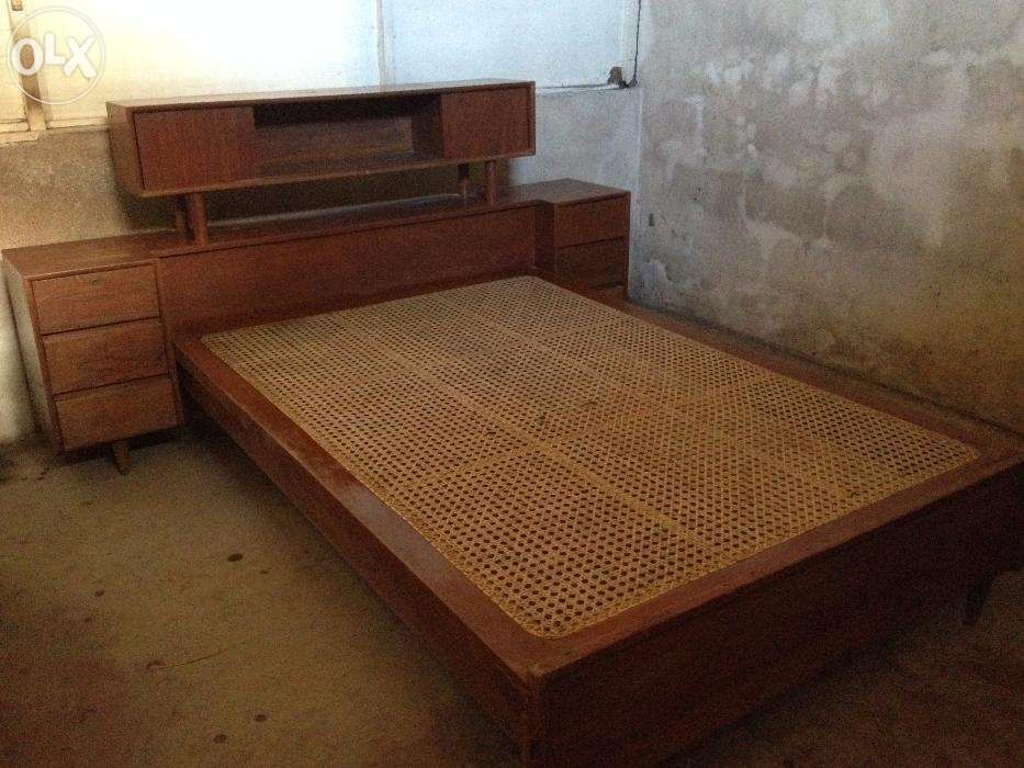 Antique Narra Solihiya Bed Frame With Headboard And Drawers For