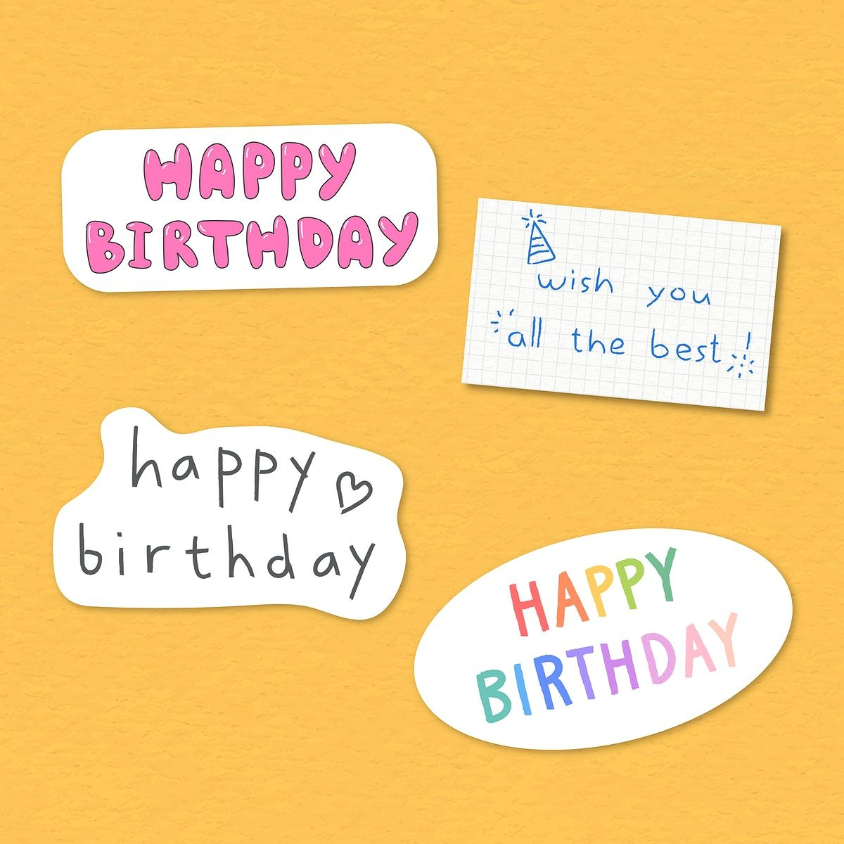 Set Of Happy Birthday Typography Sticker Vector Premium Image By Rawpixel Com Nunny Birthday Typography Happy Birthday Typography Typography