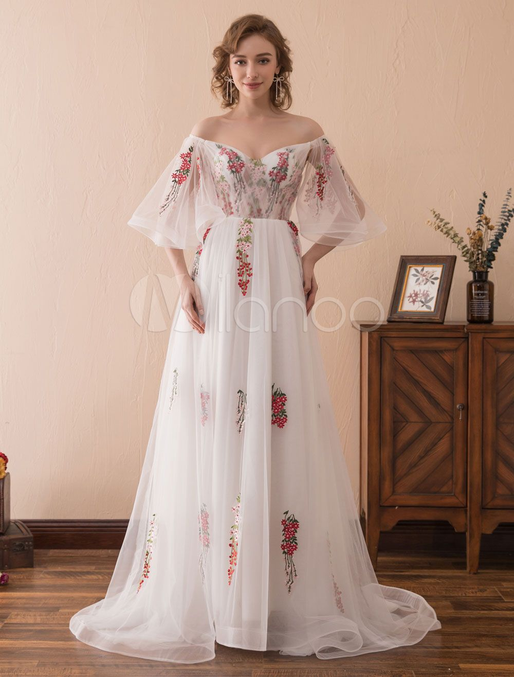 Prom dresses long organza off the shoulder ruffles embroidered half