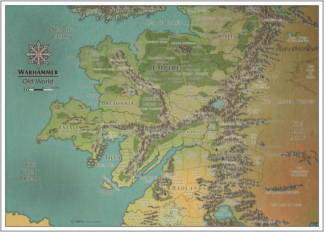 Old World Map Warhammer Warhammer   Old World   Color by Cyowari | Fantasy world map, Old