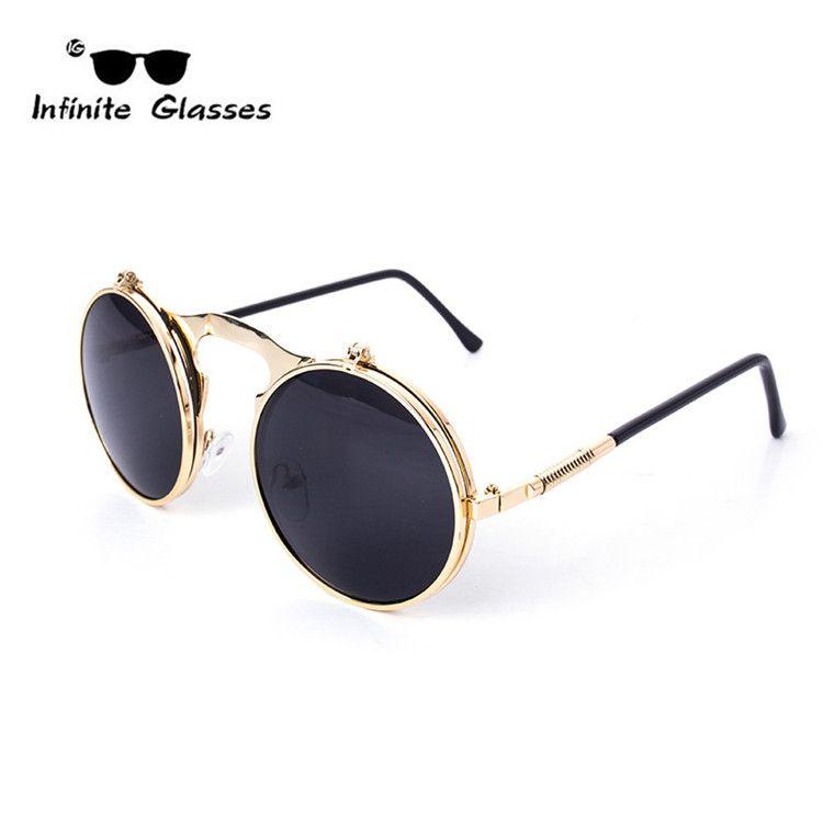 20fc781ce6 Encontrar Más Gafas de Sol Información acerca de Vintage STEAMPUNK ronda  negro…