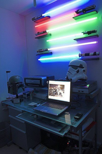 """How do you feel about a Star Wars themed #office? Cool, right? I'd make sure my lightsaber lights matched my office #chair. :)""...I thought my son was obsessed. Ha ha"