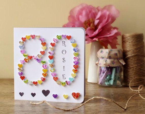 80th Birthday Card Personalised Age 80 Card Handmade Etsy Geburtstagskarten Diy Jungen Geburtstagskarten Ideen Fur Geburtstagskarten