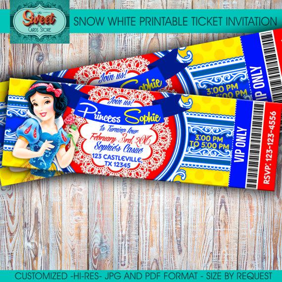 Snow White Printable Personalized Invitation Snow White