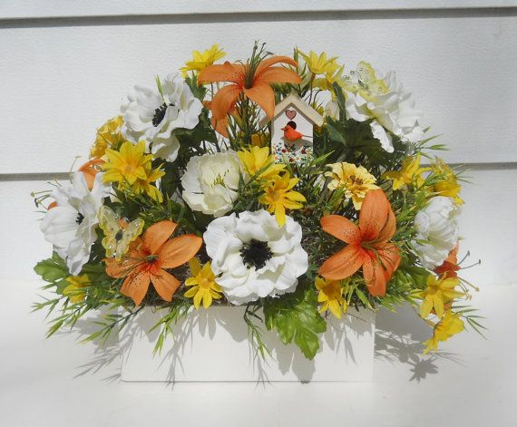 Sunflower Fall Silk Flower Arrangement In Wood Window Box Etsy Silk Flower Arrangements Flower Arrangements Floral Arrangements