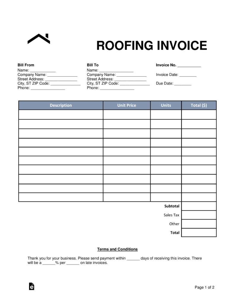 Free Roofing Invoice Template Word Pdf Eforms Free