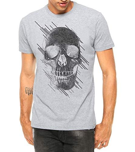 324dd432c Camiseta Criativa Urbana Caveira Estilizada Manga Curta Cinza GG em ...
