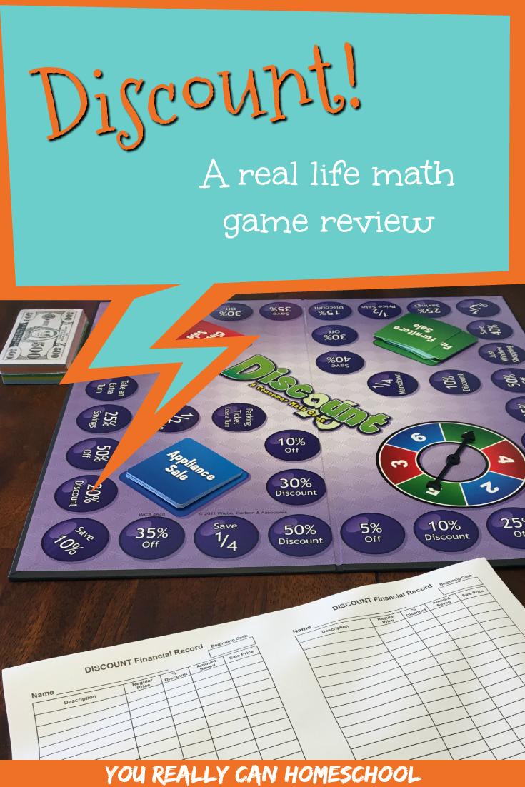 discount a real life math game review homeschool math pinterest