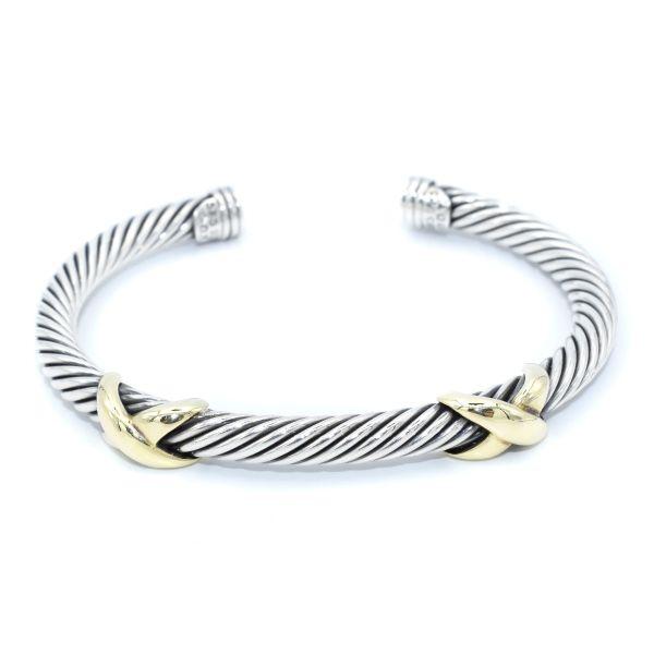 David Yurman Double X Bracelet With 14k