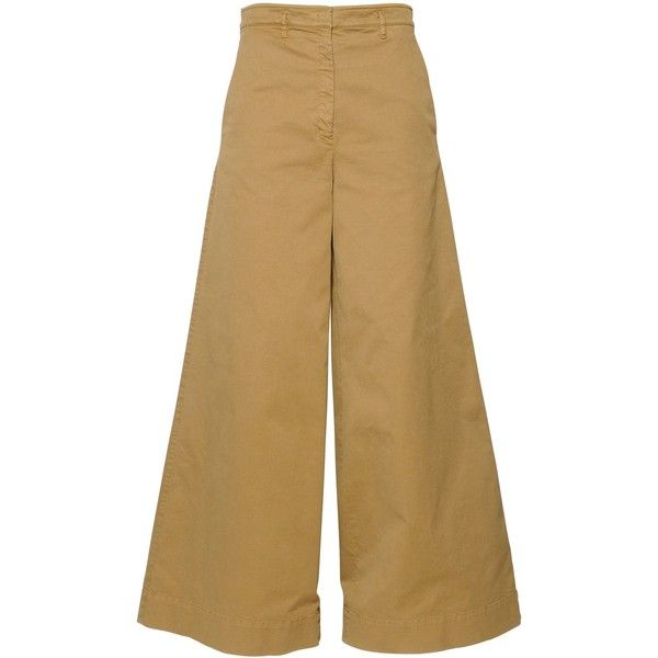 N°21 Cotton Gabardine Palazzo Pants ($475) via Polyvore featuring pants, khaki, zipper pants, khaki trousers, brown palazzo pants, cotton pants and zip pants