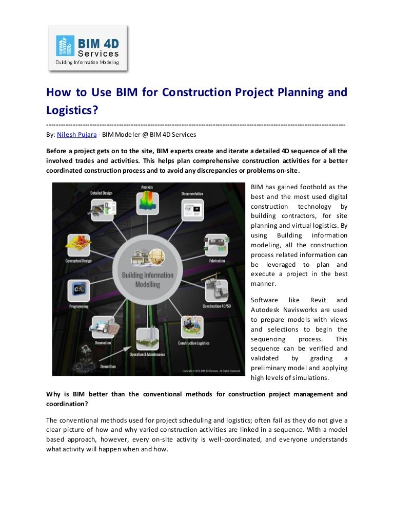 BIM for Construction Project Planning and Logistics BIM - project planning