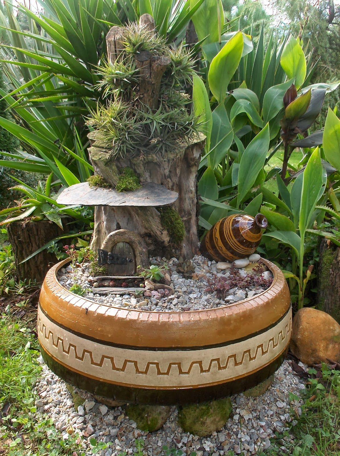 Aprendiz Paso A Paso Maceta De Neum Tico Con Decoraci N De Huella  ~ Macetas Originales Para El Jardin