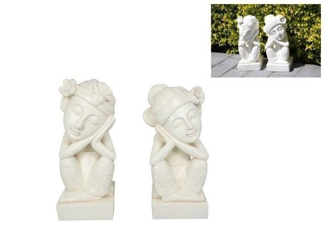 1 Pair 30cm Balinese Buddha Outdoor Garden Zen Patio Statue Ornament Set