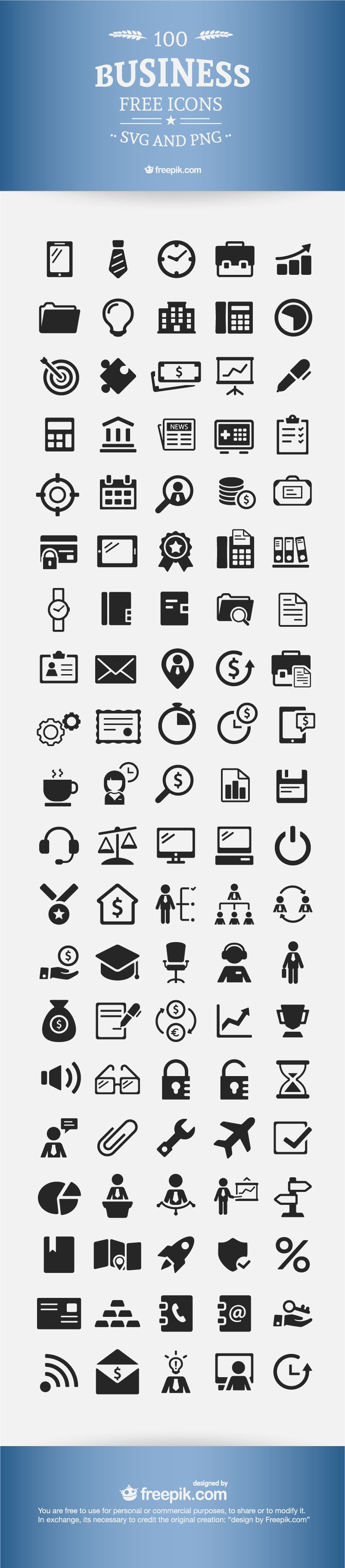 100 Free Business Icons