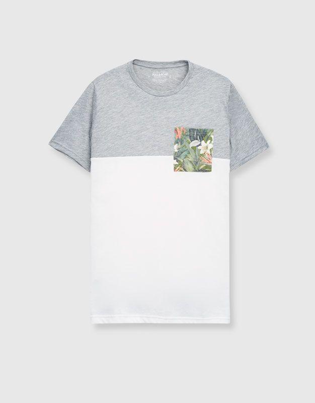 Flores Estampado Hombre Camisetas Ropa Camiseta Bolsillo iPkXZu