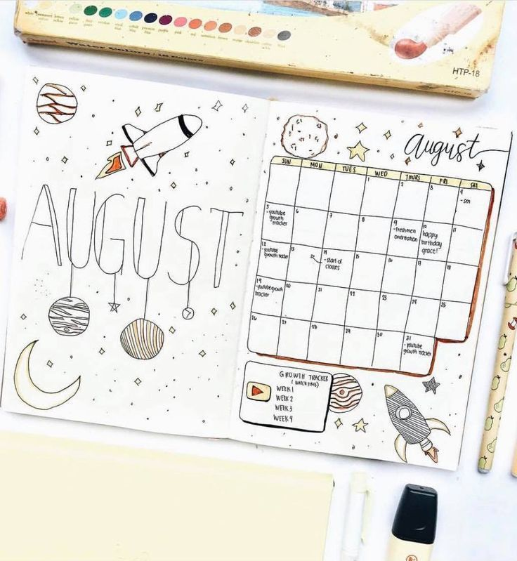 This August bullet journal spread ig@hkstudies reaches another galaxies! Literal Bujo #augustbulletjournal