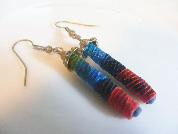 Soft Jewelry Pagoda style fiber bead earrings by SoftJewelry, $14.00