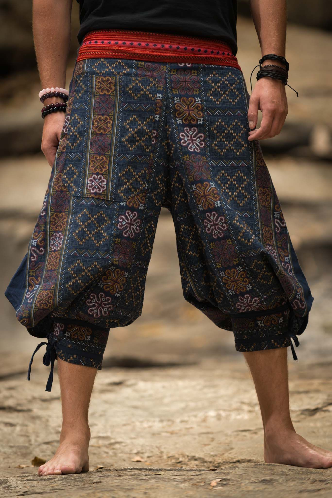 2be4fff17f0d8 Unisex Clovers Thai Hill Tribe Fabric Harem Pants with Ankle Straps in