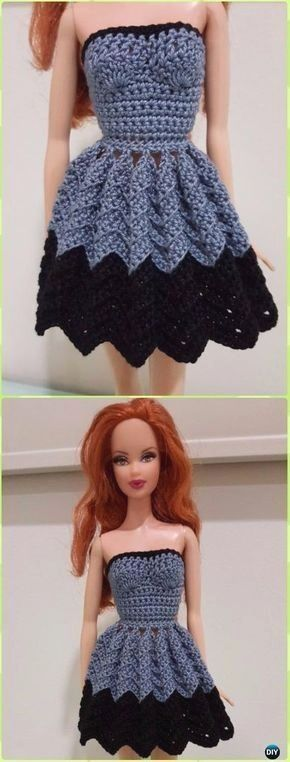 Crochet Barbie Strapless Chevron Dress Free Pattern Crochet Doll
