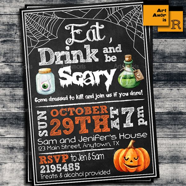 Adult Halloween Party Invitations Part - 18: Halloween Invitation, Eat Drink U0026 Be Scary, Halloween Party, Adult  Halloween Invite,