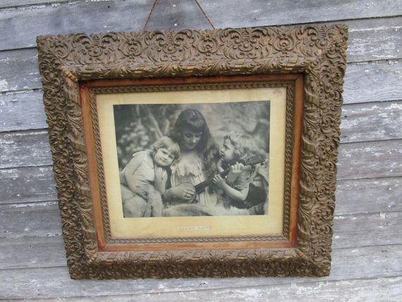 Antique Wood And Gold Gesso Picture Frame Antiques