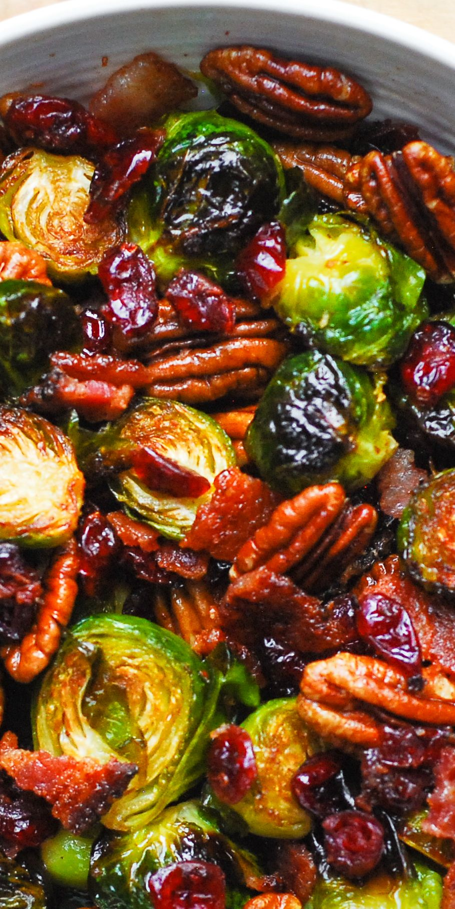 Christmas Side Dish: Roasted Brussels Sprouts with Bacon, Toasted Pecans, and Dried Cranberries