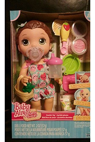 In Stock Baby Alive Snackin Lily Doll Snacks Brunette Baby Alive Sippy Cup Paci Baby Alive Sippy Cup Dolls