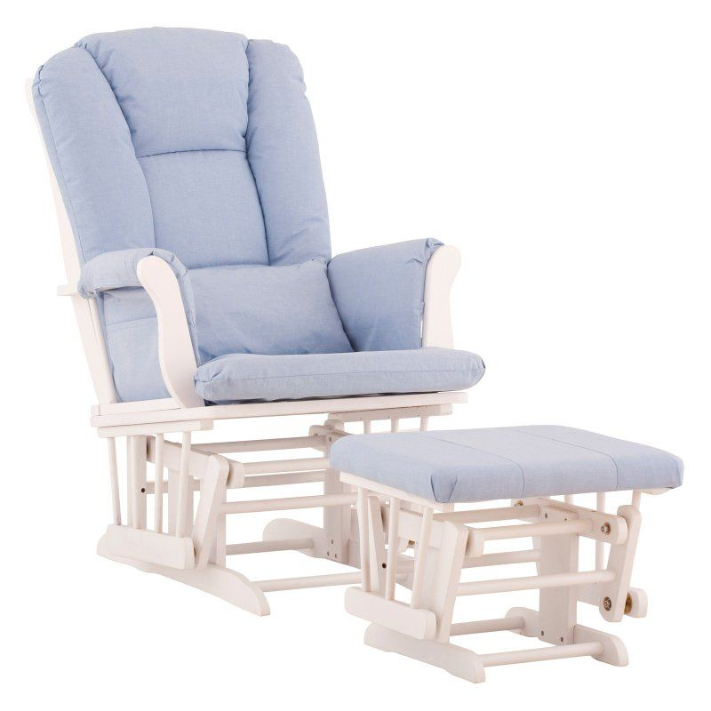 Storkcraft Tuscany Glider and Ottoman with Free Lower Lumbar Pillow - White Finish with Blue Cushions - 06554-531