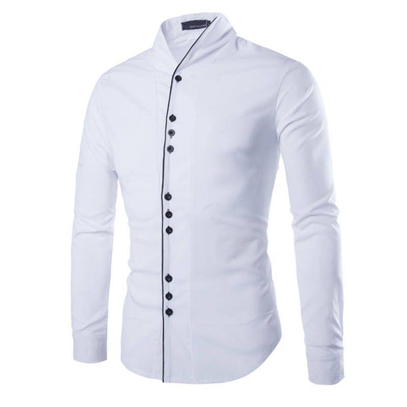 fc8e30073 Camisas para hombre camisa blanca de manga larga del collar del mandarín de  alta calidad de algodón Reunión Slim Fit Casual 0725