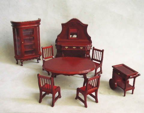 Dolls House Furniture Img1 Dining Room Setting In Dark Wood 7 Pieces, ...  Toystoenjoy.com.au