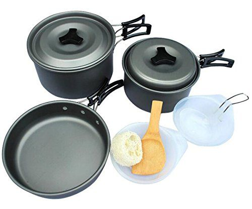 Non-stick Cooking Picnic Bowl Pot Pan Set for Outdoor Backpacking Camping Hiking