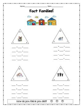 Fact Family Worksheet - fact triangles | Pinterest