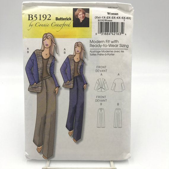 b4340c3bbe7 Butterick 5192 Connie Crawford Womens Plus Size Casual Jacket and Pants w  Pockets Size XXL 6X (18W 4
