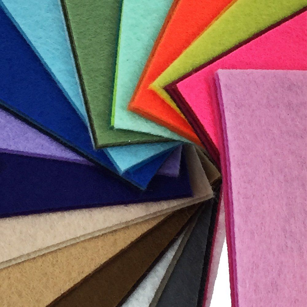 10 x 10 cm flic-flac 44PCS Assorted Color Felt Fabric Sheets Patchwork Sewing DIY Craft 1mm Thick