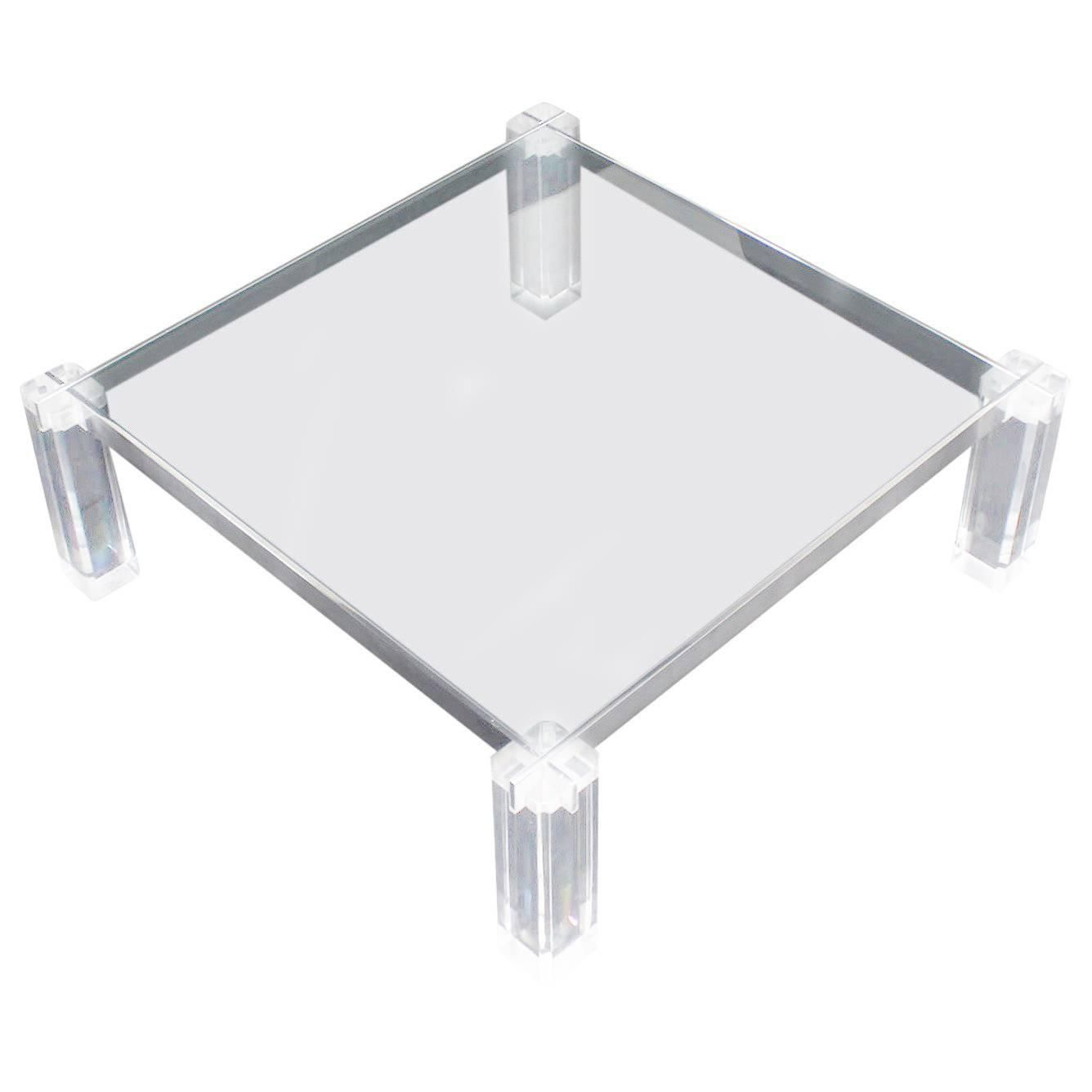 Lucite base large square coffee table with images