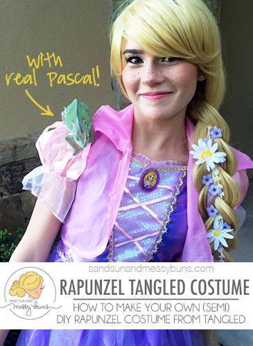 Semi Diy Tangled Rapunzel Costume Tutorial Sand Sun Messy Buns Rapunzel Costume Diy Costumes Kids Costume Tutorial