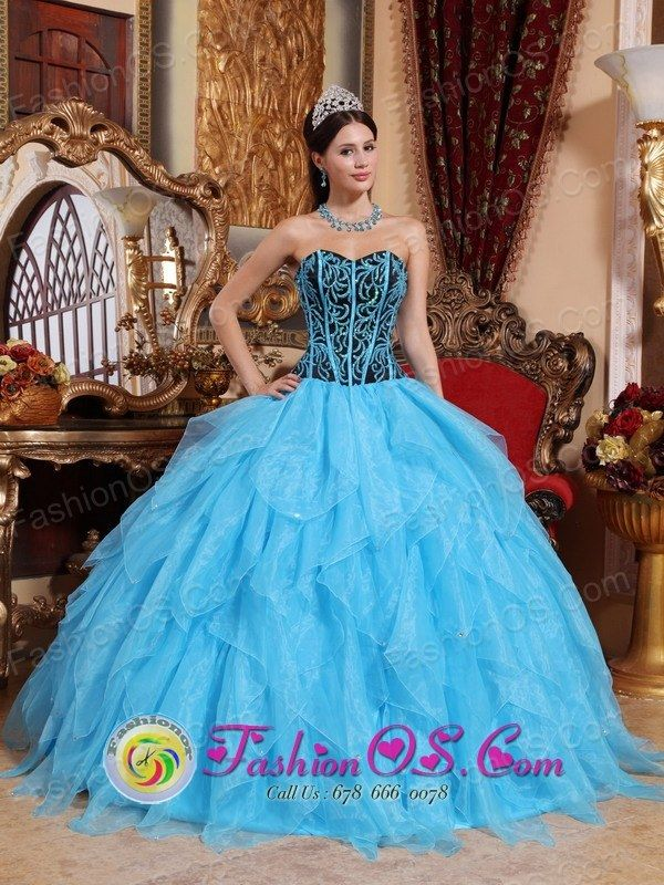 c5184bc117c Modest Aqua Blue Sweet 16 Dress Sweetheart Floor-length Organza Embroidery  with Beading Ball Gown