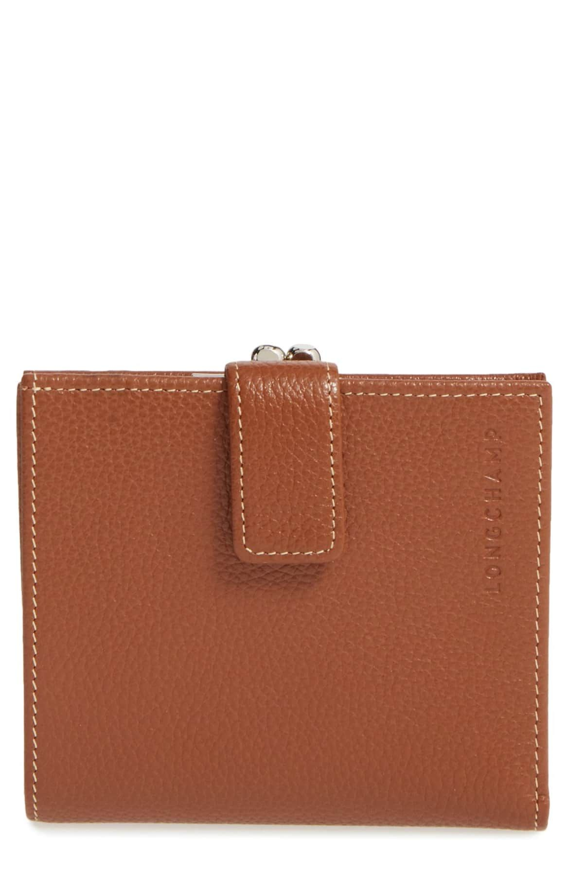 39411f4a857 Le Foulonne' Pebbled Leather Wallet, Main, color, COGNAC | 5-piece ...