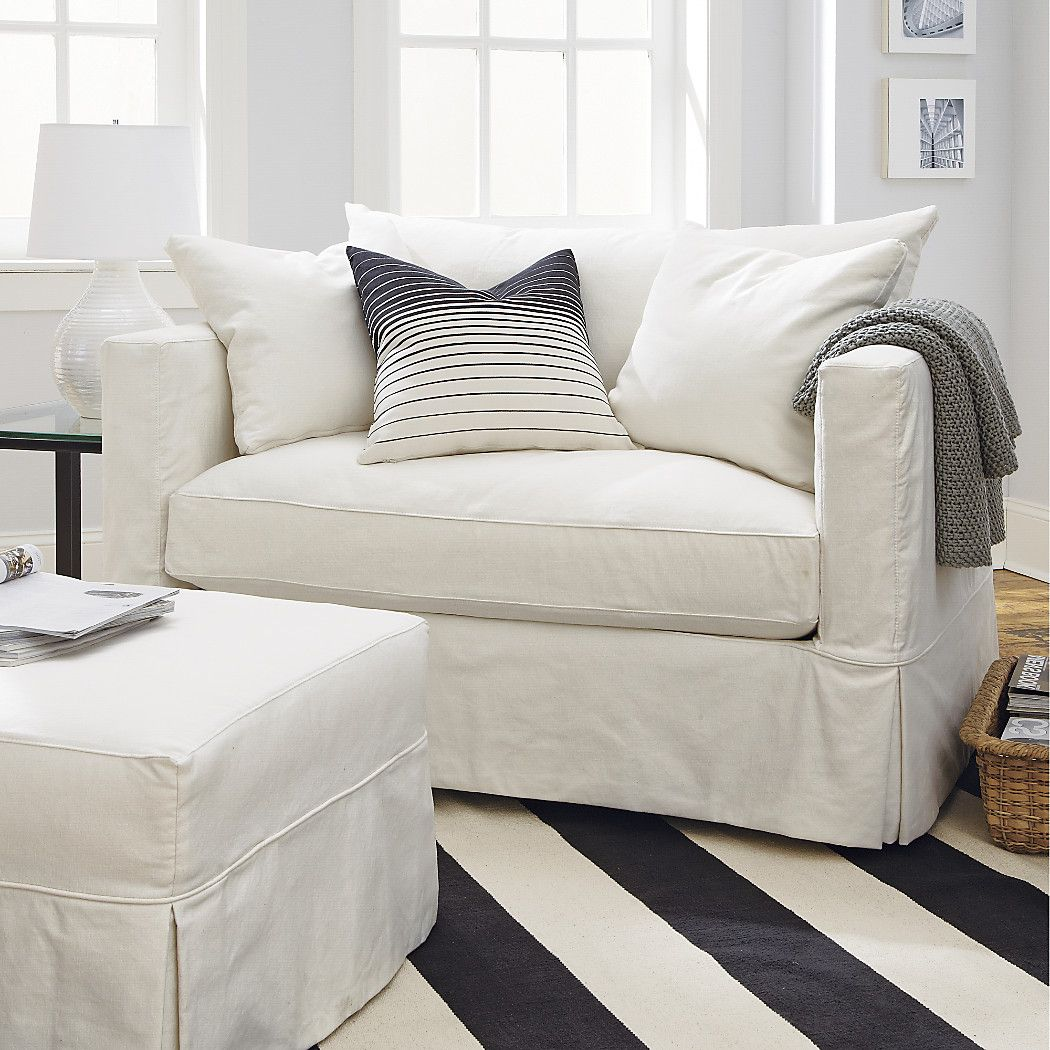 shop willow white slipcovered chair and a half this chair and a