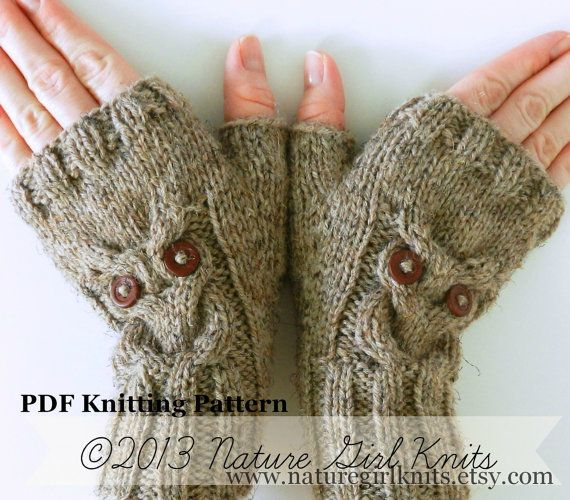 Knitting Pattern Owl Cable Knit Fingerless Mittens Pdf Digital