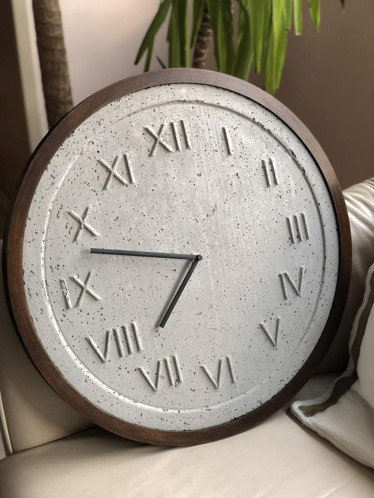Concrete Clock Wooden Wall Clock With Dark Oak Wooden Frame Etsy Unique Clocks Grey Interior Design Concrete Wall
