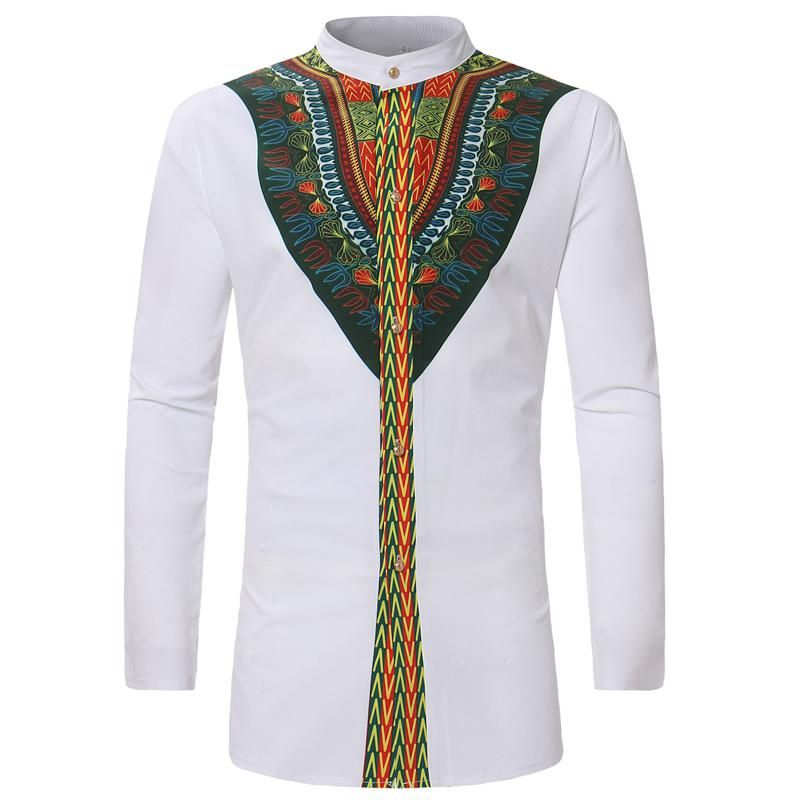 National Totem Printed Man's Shirt Long Summer Style African Country Ethnic  Pattern - US $14.41