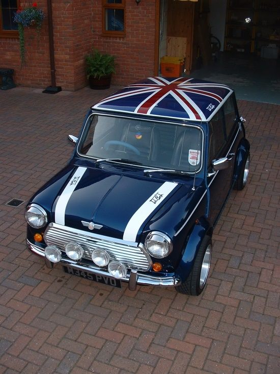 Old school British classic Mini Cooper with union jack roof