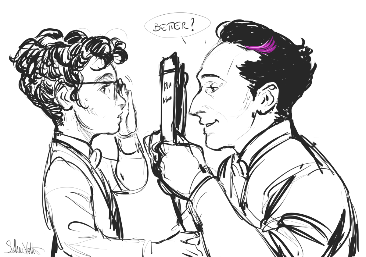 Oswald discovers that Martin needs large round glasses to